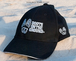 Boots on the Ground Hat Black Embroidered