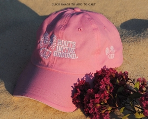 Boots on the Ground Hat Pink Embroidered