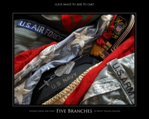 United States Military - 5 Branches - Giclee Print